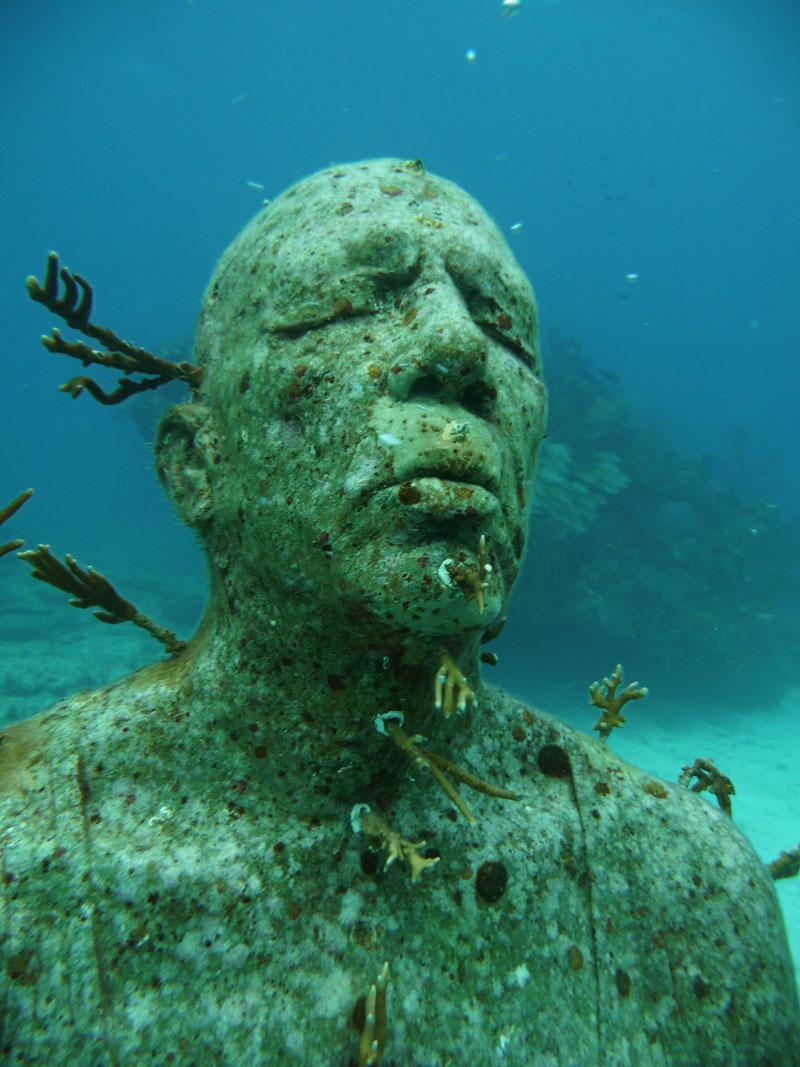 Nahaufnahme einer Statue nach 9 Jahren unter Wasser